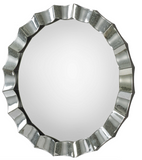 Antiqued Scalloped Edge Round Mirror