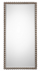 "The Beaded Wall mirror is striking. The frame features a beaded profile finished in a lightly antiqued silver leaf. Mirror has a generous 1 1/4"" bevel. May be hung horizontal or vertical."