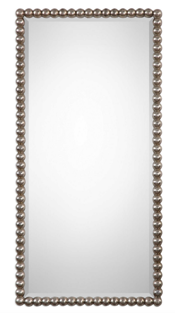 The Beaded Wall mirror is striking. The frame features a beaded profile finished in a lightly antiqued silver leaf. Mirror has a generous 1 1/4