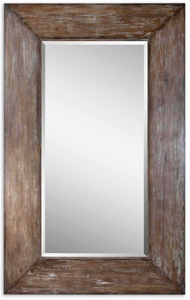 "The Wide Wood Leaner Mirror features a generous 10"" wide frame with antiqued hickory undertones, light gray wash and burnished distressing. Mirror has a generous 1 1/4"" bevel. May be hung either horizontal or vertical or Leaned."