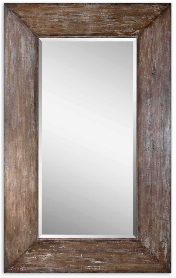 The Wide Wood Leaner Mirror features a generous 10