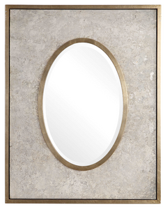 The Myriad Modern Mirror is unique. Inspired by aged and weathered plaster, this frame is hand painted in mottled grays and metallic silver, accented with solid wood inner and outer raised edges finished in a antiqued silver leaf. Mirror is beveled. May be hung horizontal or vertical.