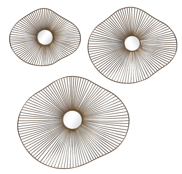 The Shroom metal wall art is organic and modern.This contemporary set of 3 metal wall art features 3-dimensional organically curved shapes with radiating metal spokes, finished in a plated gold with mirrored center accents.