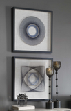 The No Strings attached wall art is unique and modern. These fun shadow boxes feature 3-dimensional layered string art, hand threaded around individually hammered pin nails in easy shades of blue, over a neutral linen backing with a black pine frame.