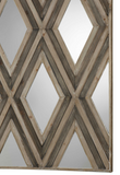 The Dominion Wood and Mirror Wall Decor is striking. An updated blend of casual and contemporary with mirrored accents, layered with fir veneers in a geometric argyle pattern, finished in ivory and chestnut gray.