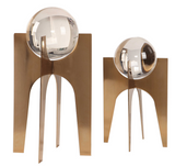 The stance decorative accessory is a must have. Crystal spheres elevated on stainless steel bases finished in a brushed, plated copper bronze.