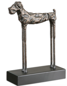 The Good boy dog Sculpture is unique and mod.  The heavily distressed cast iron dog figurine has golden bronze highlights. Great for a desk or table top sculpture.