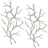 The Branch Metal wall decor is versatile. Artistically replicated branches made of hand forged and hand hammered iron with a bright silver leaf finish. May be hung horizontal or vertical.