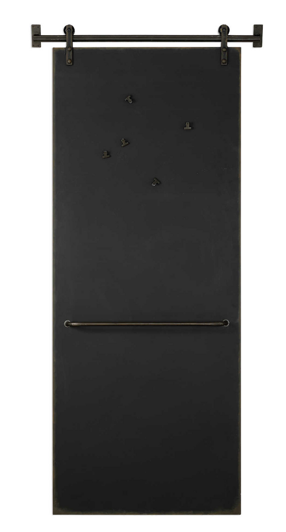 The Magnet Modern Chalk Board is modern and unique. Organize your calendar, or use as a catch all for artwork, photos, and family happenings with this farmhouse barn door chalkboard. Five clip magnets included.