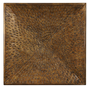 Shedd Metal Wall Art has an organic modern flair. Beveled iron with pierced accents throughout, finished in a hand applied heavily antiqued bronze.