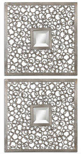 The Inner circle wall art is modern and unique. The metal frames consist of numerous metal rings welded together and finished in a lightly antiqued silver. Mirror is beveled.
