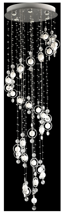 The Bubbly Modern Chandelier is fun and stylish.  The sweeping design in modern and breathtaking.  The white glass orbs mixed with the crystal pairs for a stunning effect.  Great for high ceiling are places where a huge impact light is necessary.