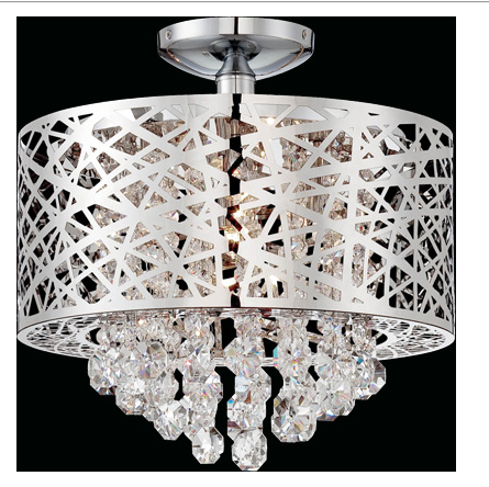 The Modera Flush Modern Chandelier as high style in areas where a close to ceiling light is needed.  A Modern marvel with the chrome shade covering the crystal teardrops.  Perfect for the Modern interior.
