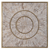 The Olean Wood and Metal Wall Decor blends the rustic and modern element seamlessly.Modern and rustic styles merge in this mixed material design. Aged fir wood strips with natural wood graining have a light gray wash and are arranged in a circular design, with iron accents finished in antique brass.