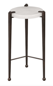 The Clasp Accent Table is all about the details. Thick hand polished art glass in a heavily seeded cloud white, suspended by an industrial inspired iron base with tapered legs accented by ball feet, finished in an acid oxidized dark bronze.