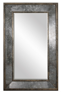 "The Reveal antique floor mirror boast style. This stately mirror features a distressed, aged black, solid pine inner and outer frame surrounding heavily antiqued style side mirrors. Center mirror has a generous 1 1/4"" bevel. May be hung horizontal or vertical."