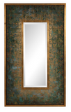 The Bizantyne Modern Wall Mirror is reminiscent of old painted tile work, this piece features hand painted metallic gold and antique turquoise details with dark green aging, bordered by an inner and outer gold leaf frame. Mirror is beveled. May be hung horizontal or vertical.