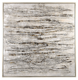 The Layered wall art has a modern flair and earthtone colors. Modern, industrial style emanates from this hand painted abstract on canvas. An array of textured gray, brown, white, and off white brushstrokes are accented by black and metallic silver shades that add dimensional details. A silver gallery frame completes the artwork. Due to the handcrafted nature of this artwork, each piece may have subtle differences. This piece may be hung horizontal or vertical.