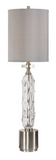 The Ghost Modern Buffet Lamp is sleek and modern. Decorative clear art glass featuring hand molded texture, accented with brushed nickel plated details and crystal highlights. The round hardback drum shade is a gray linen fabric with noticeable striations.