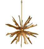 The Jagged Starburst 6 light pendant features antique gold leaf on starburst blades helps mix the mid-century feel with an old world feel giving us this great pendant. Includes 6-40w G9 halogen bulbs. Use in a grouping for a more eye catching fixture.