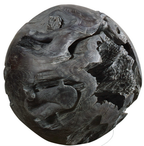 The Fossil Teak Ball is decorative and unique. This teak decorative ball brings a rustic and warm atmosphere to any bare corner, balcony or terrace. Beautifully handcrafted and finished with a fossil gray stain. Each will vary in size due to being uniquely handcrafted. Cracks and variations in grain are normal. Use indoor or out.