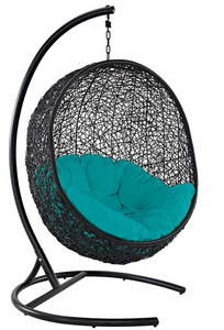 Reap the benefits of the sitting in the Mineral Spring Outdoor Patio Swing Lounge Chair. Climb into this swing and enjoy the oscillation as you enjoy the outdoors, engulfed in the white fabric cushion.  The Mineral Spring Outdoor Patio Swing Lounge Chair is made of an espresso metal stand and rattan seat.  Chair can also be hung from beams without stand.