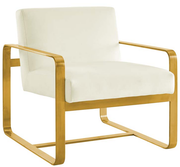 The Brasso Accent Chair embraces contemporary inspiration. A modern update to your living room, bedroom, or office, The Brasso Accent chair innovates with its artful frame and open design. Featuring a streamlined profile with sleek rounded corners, It comes with stain-resistant velvet upholstery or fabric and a gold stainless steel frame.