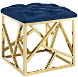 Angular Modern Ottoman Blue and Gold