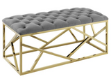 Angular Modern Bench Navy and Gold