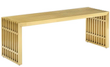 Gold metal bench,clean lines, contemporary bench,sleek bench