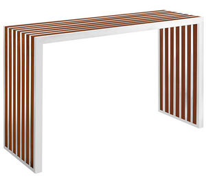 The inlay console is sleek and modern. The stainless steel design with the Walnut inlay is striking.  Perfect for an entry foyer or behind the sofa this console is sure to add high style to your space.