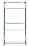 The Strapped Bookcase/Display Shelf boast style.  Simple design and clean lines gives this display shelf the perfect form to hold valuables and display items. The Glass shelves or simple and timeless.