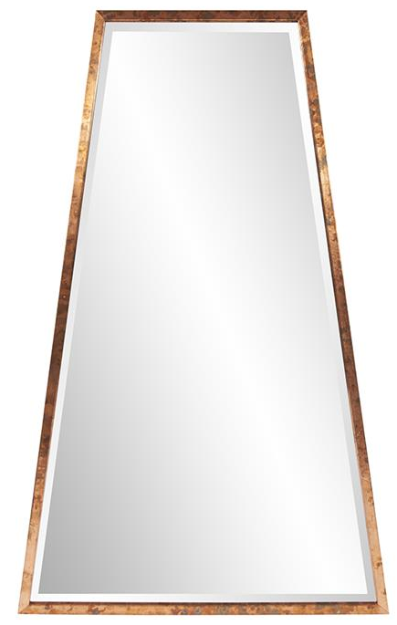 The elongated A shaped frame takes on a retro design, modernized for 2018 and beyond with an acid treated copper finish. The mirror of the frame has a bevel, enhancing its overall look. D-rings and saw tooth hangers are affixed to the back of the frame so that the mirror is ready to hang right out of the box! Use in a grouping for a more dramatic effect.