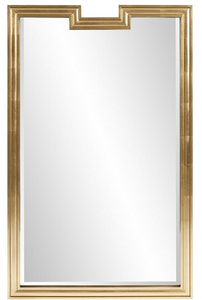 The Deco Arte Wall Mirror is a gorgeous piece with an Art Deco flair. It features a simple rectangular wood frame with a notch cut out in the top. The entire piece is then finished in a bright silver leaf finish or gold that accentuates the pure brilliance of this piece. The simplicity of this piece allows it to fit right in to any style from Contemporary to Traditional. D-rings are affixed to the back of the mirror so it is ready to hang right out of the box.