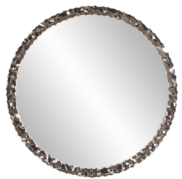 The Crumple wall mirror is a striking piece featuring a round frame characterized by a wrinkled ripple texture. The texture and movement of the piece is exaggerated by its bright nickel plating applied with an electrostatic technique. It is a perfect focal point for an entryway, bathroom, bedroom or any room in your home. D-rings are affixed to the back of the mirror so it is ready to hang right out of the box! The mirrored glass on this piece is NOT beveled.