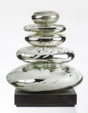 Plated Glass Stacked Stones on Base