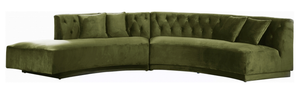 Curvy Modern 2 pc Sectional Sofa Olive Green