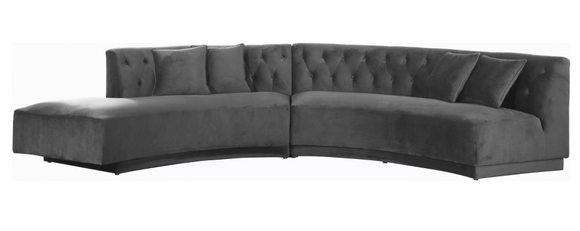 Curvy Modern 2 pc Sectional Sofa Grey