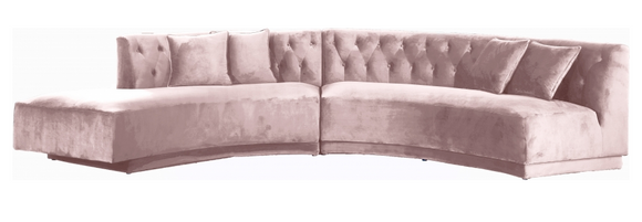 Curvy Modern 2 pc Sectional Sofa Pink