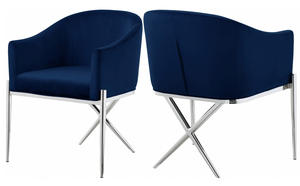 Cavali Dining Chair Chrome Blue