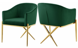 Cavali Dining Chair Gold Green