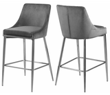 Capelli Counter Stool Chrome S/2 Grey