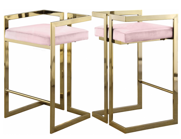 Givency Modern Counter Stool Pink/Gold
