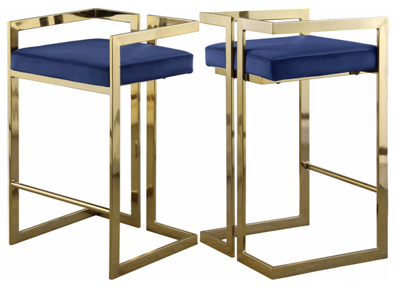 Givency Modern Counter Stool Blue/Gold