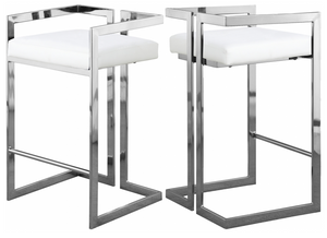 Givenchy Modern Counter Stool White Faux Leather/Chrome