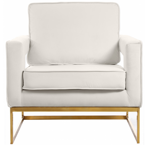 Helena Velvet Modern Accent Chair Cream