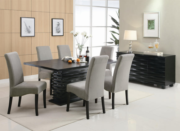 modern dining table, dark wood dining table, contemporary dining table