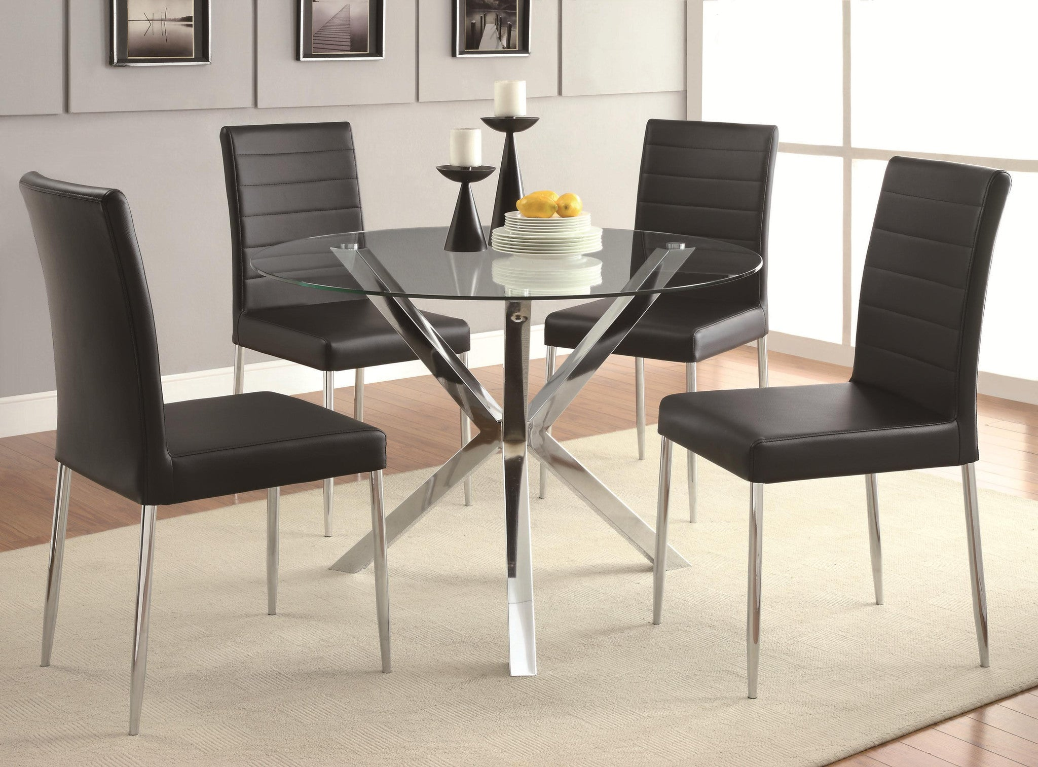 Metro Dining Table, chrome dining table, modern dining table, contemporary dining table,