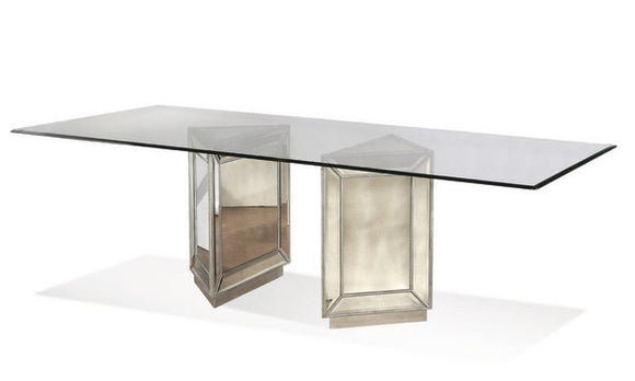 Duo Mirrored Dining Table , glass top table with mirrored table bases.  Modern or transitional dining room table.