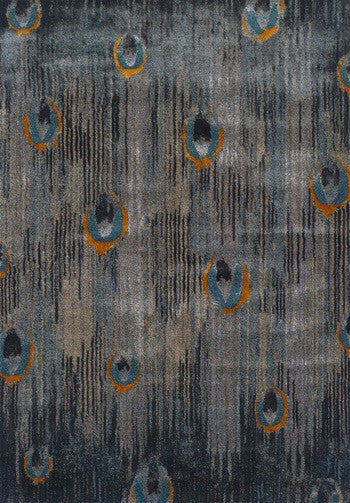 Grey Principle Rug, Rug, Peacock Feather, Blue Rug